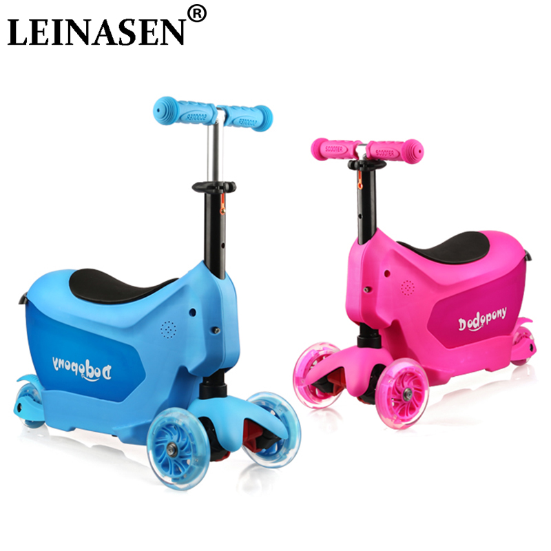 Kids Luggage Toy Box Can Sit Ride Scooter Rolling Suitcase Three-wheeled Skateboard Box Car Luggage For 1-6 Years Old Kids