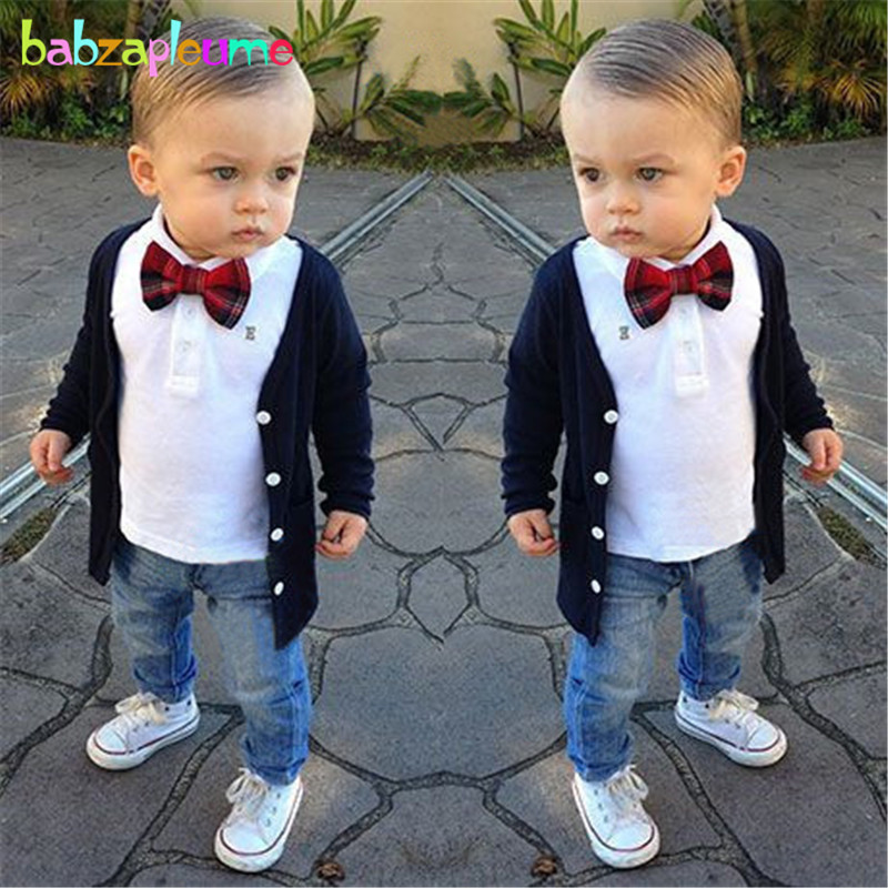 3Piece/2-7Years/Spring Autumn Baby Suits Kids Fashion Clothes Knit Cardigan Coat+T-shirt+Jeans Toddler Boys Clothing Sets BC1161