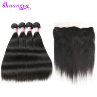 Shuangya Hair Indian Straight Hair Weave Bundles Lace Frontal Closure With Bundles Remy Human Hair 3/4 Bundles With Frontal