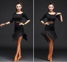 New Style Latin Dance Costume Spandex Fringe Stones Dress For Women Competition Dresses M-3XL