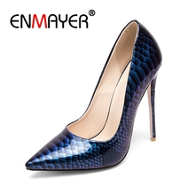 ENMAYER Women Super High Heels Pumps Pointed Toe Shoes Summer Big size 34-43 Woman Stiletto Thin Heels Party Ladies Shoes CR704 недорого
