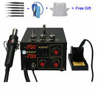 110V 220V 270W KADA 852D+ Hot Air Gun and Solder Iron 2 in 1 SMD Repairing System BGA Soldering Station