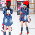 Hot! 2016 Autumn New Long-sleeved Dress Girls Fashion Children's Cartoon Mickey Denim Dress Free Shipping