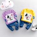 Chegam novas Crianças Conjunto de Roupas Meninas dos desenhos animados Tops + Pants Meninas Do Bebê Se Adapte Set Outono Coreano Crianças meninos Roupas de algodão varejo