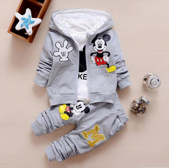 New Minnie Baby Girls Boys Clothing Sets Kids Autumn Character Cotton Long Sleeve Shirt + Pants 2 Piece Children Clothing Set