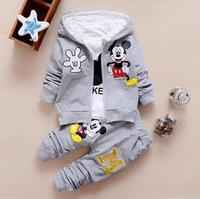 New Minnie Baby Girls Boys Clothing Sets Kids Autumn Character Cotton Long Sleeve Shirt Pants 2