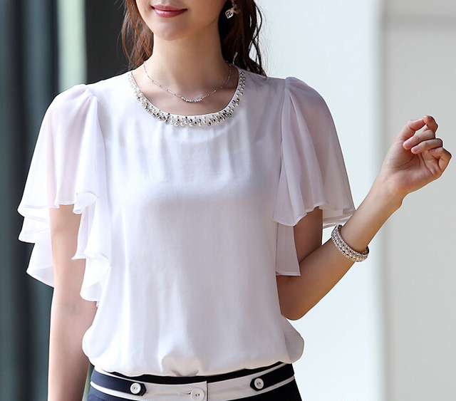 6305226ecd151 2015 New Arrival Women Elegant Ruffle Sleeve Shirts Blouse Fashion Chiffon  Loose White Blouses Shirts Casual Summer Tops