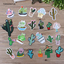TIANXINYUE Cactus and succulent Patch Iron On DIY Embroidered Appliques Sew Jacket For Clothes Sticker