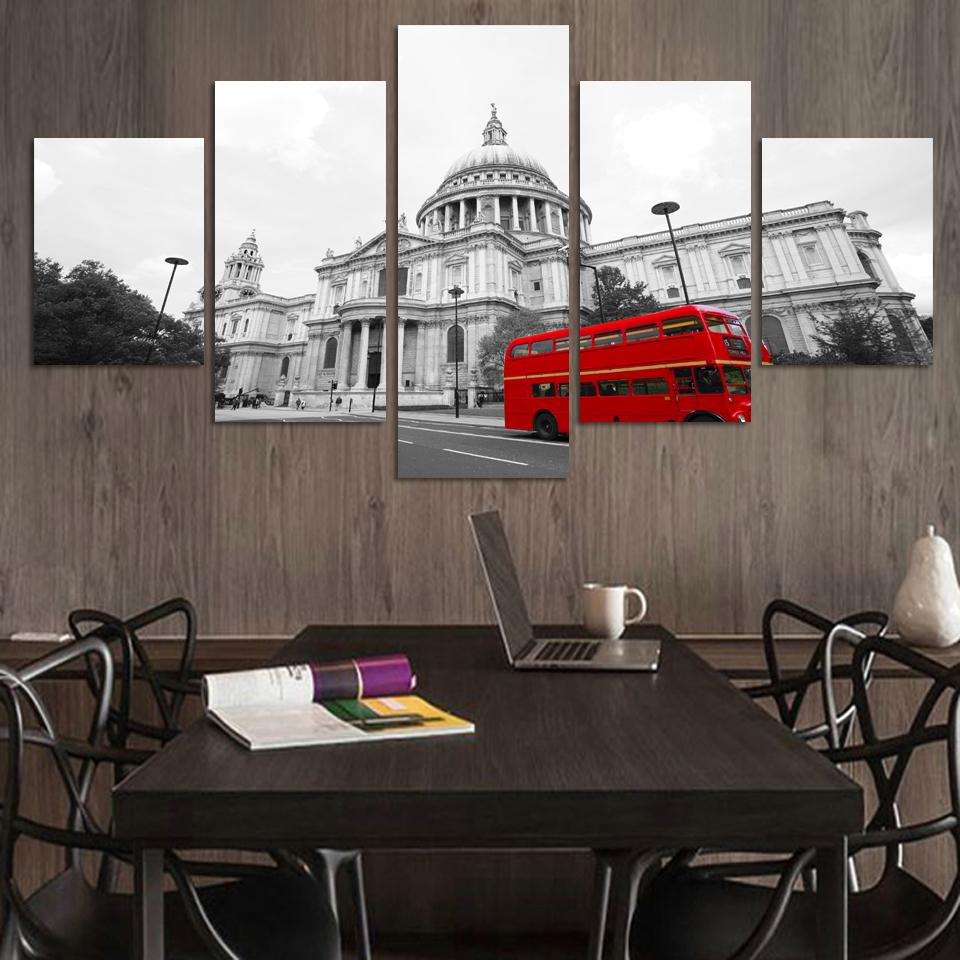 Tableau Mural Us 9 69 35 Off Old Fashion European Street Building Modern Canvas Painting Tableau Decoration Murale Red Bus Wall Picture Painting On The Wall In