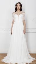 Bohemian Half Sleeve Lace Chiffon Bridal Gown A-line Scoop Transparent  Back Sheer Wedding Dress NM 507