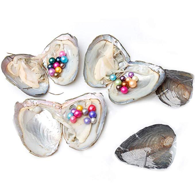 5 PC huîtres perlées de culture d'eau douce avec 10 couleurs de mélange rond amour souhaite huîtres avec perles à l'intérieur 10 couleurs 6.5-8mm
