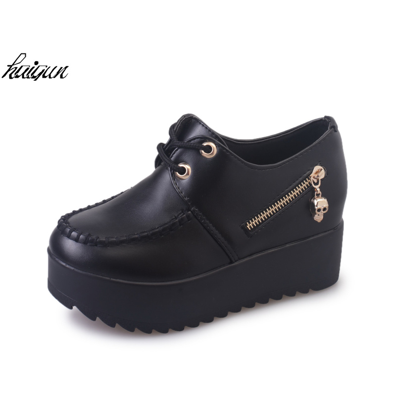 2016 Women's Creepers Solid Lace-up PU Leather Flat Shoes Stitching Platform Shoes Woman Spring Summer Fashion Flats rihanna pu leather creepers flat platform shoes woman 2016 casual loafers black pink flats lace up women shoes