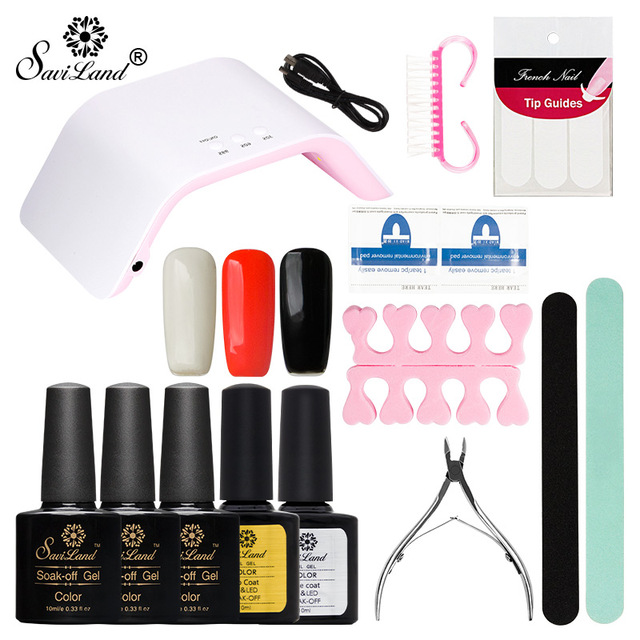 Saviland 17pcs/set Pick 3 Color Glitter Nail Gel Polish & 24W UV ...
