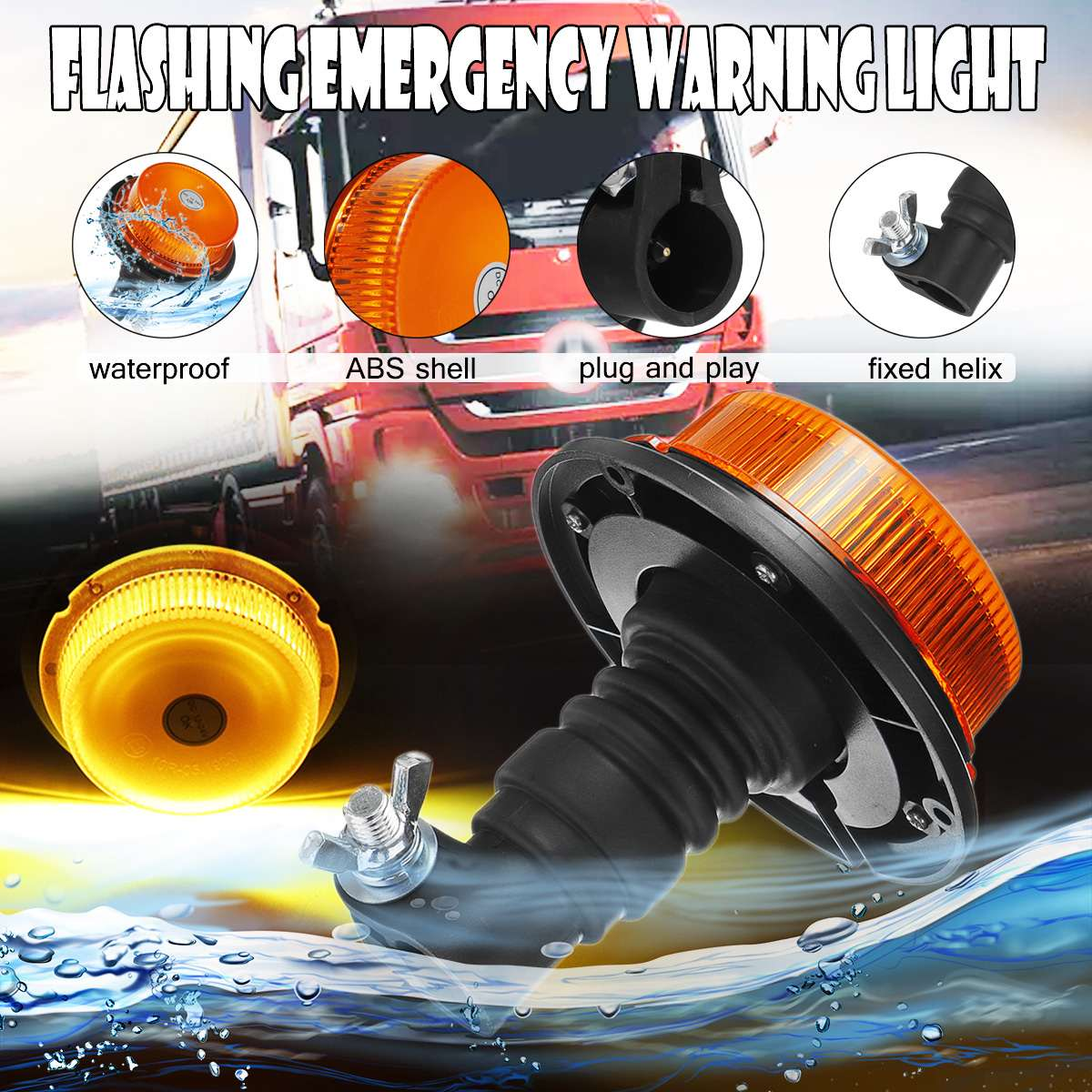 LED Flashing Warning Light Waterproof Car Truck Emergency Light Flashing Firemen Lights 12-24V For Agricultural Vehicle Tractor