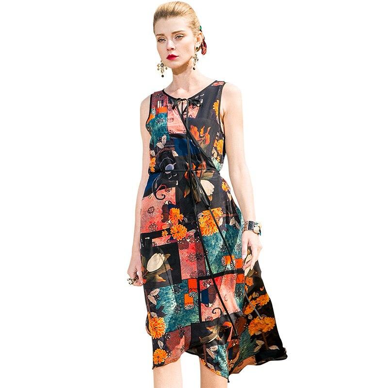 POKWAI décontracté imprimer sans manches été robe en soie femmes 2018 nouvelle mode haute qualité Sexy col en v Empire a-ligne robes de réservoir