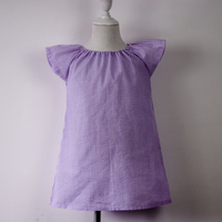 Unique products baby cotton frocks designs Wholesale seersucker Baby dress  flutter sleeveless dress