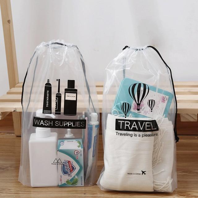 Transparente Cosméticos Saco de Viagem Mala de viagem De Armazenamento Sapatos Cueca Saco Dos Desenhos Animados Organizador Roupas Embalagem Saco de Cordão À Prova D' Água