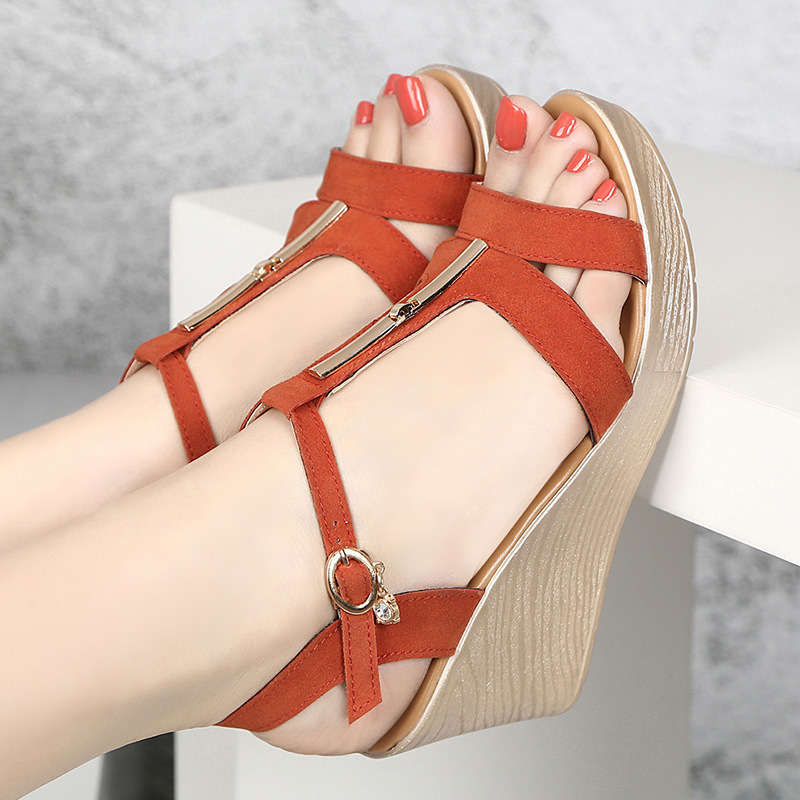 Summer Women Shoes Roman Sandals Shoes For Women High Heels Sandals Fashion Platform Sandals Woman Sandalias Mujer Zipper Shoes in High Heels from Shoes