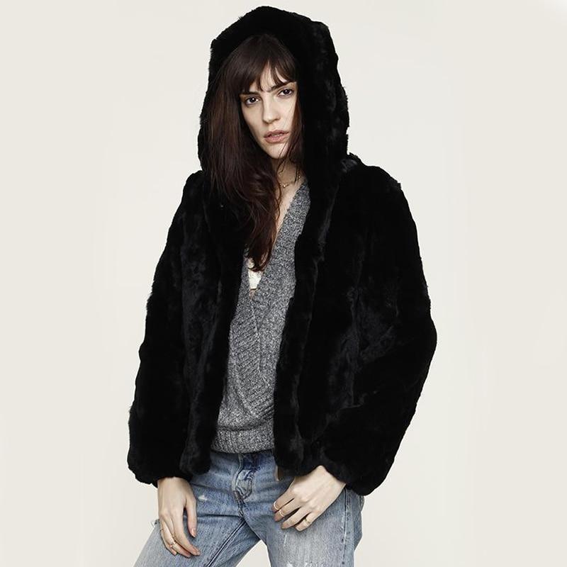 Women's Hooded Real Rabbit Fur Coat Natural Rex Rabbit Fur Hoodie Jackets O-Neck Fashion Rabbit Full Pelt Genuine Fur Jacket