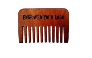Engraved Your Logo Wide Teeth Wooden Combs Straight Pocket Wooden Beard Combs Custom Natural Red Amoora Wooden Comb FH-03