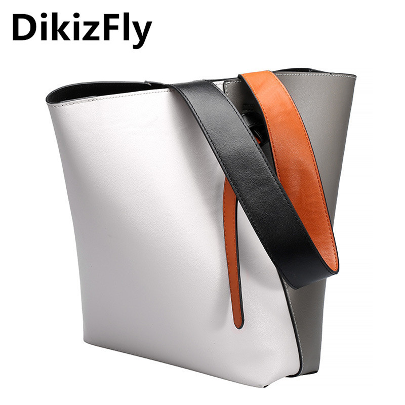 DikizFly brand women handbag genuine leather totes bags female classic Bucket women bag shoulder bags Panelled ladies handbags dikizfly soft genuine leather women handbags casual totes bag real leather brand work handbag purse elegant messenger bags bolsa