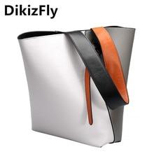 DikizFly brand women handbag genuine leather totes bags female classic Bucket women bag shoulder bags Panelled ladies handbags  недорго, оригинальная цена