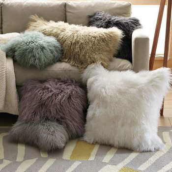 ALICEFUR Custom size new design mongolian lamb fur protective Cushion Pillow Cover