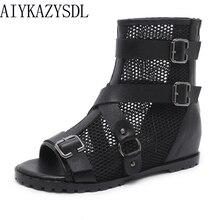 AIYKAZYSDL/Женская обувь с открытым носком в готическом стиле; летние ботинки; короткие ботильоны; сетчатые сандалии с перекрестными ремешками и пряжкой на Плоском Каблуке