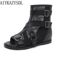 AIYKAZYSDL Women Gothic Peep Open Toe Shoes Summer Bootie Short Ankle Boots Mesh Cut Out Cross Strap Buckle Sandals Flat Heels