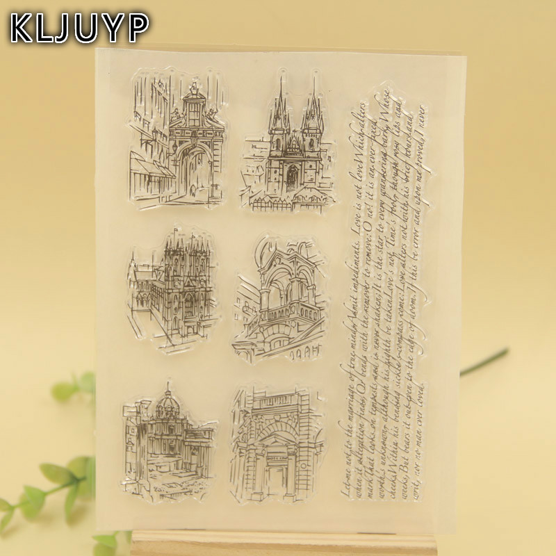 KLJUYP 1 sheet DIY Monuments Transparent Clear Silicone Stamp/Seal for DIY scrapbooking/photo album Decorative clear stamp about lovely baby design transparent clear silicone stamp seal for diy scrapbooking photo album clear stamp paper craft cl 052