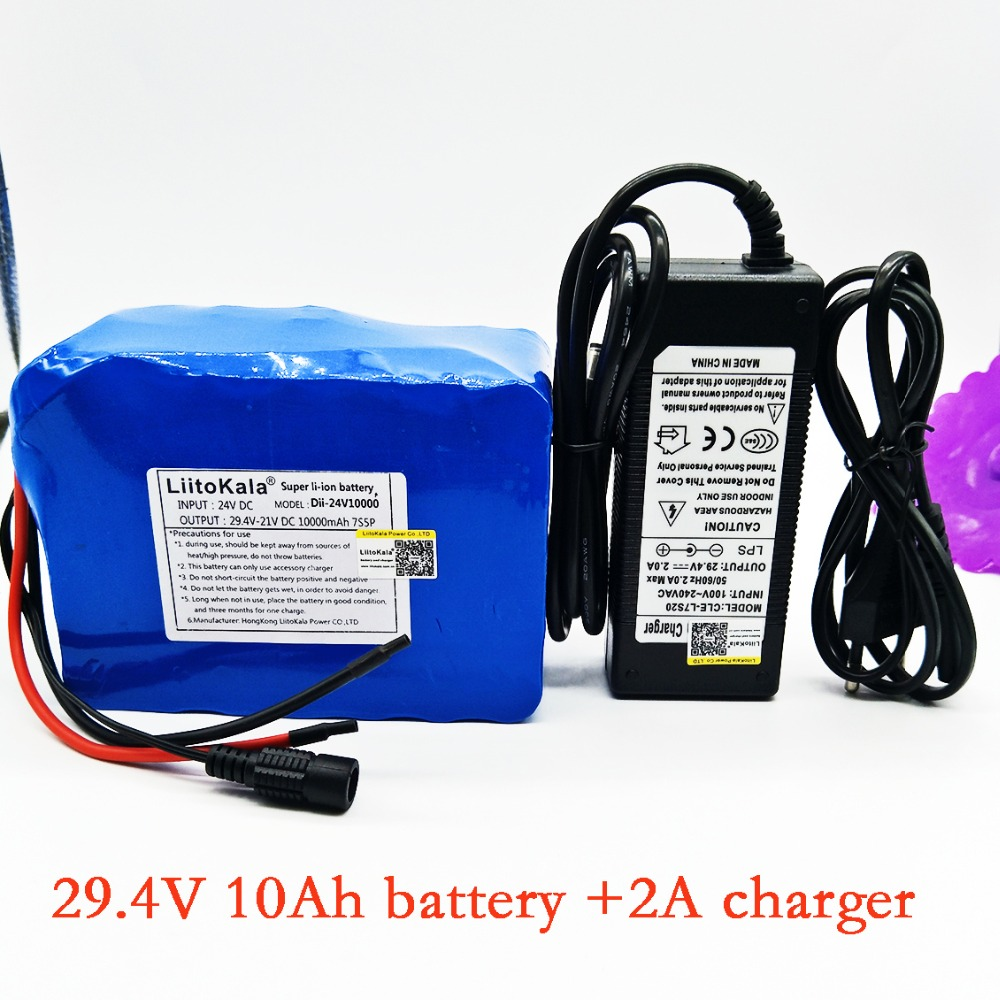 HK LiitoKala 24v 10ah 7S5P battery pack 15A BMS 250w 29.4V 10000mAh battery pack for wheelchair motor electric power+2A charger liitokala 7s5p new victory 24v 10ah lithium battery electric bicycle 18650 24v 29 4v li ion battery no contains charger