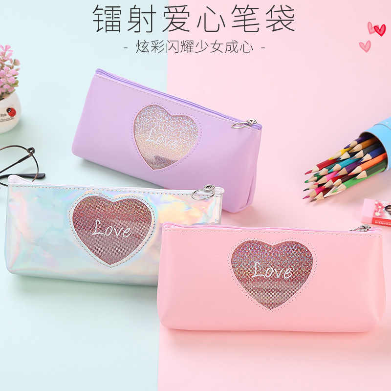 1 Pcs Kawaii  Pencil Case Laser love Estuches School Pencil Box Pencilcase Pencil Bag School Supplies Stationery