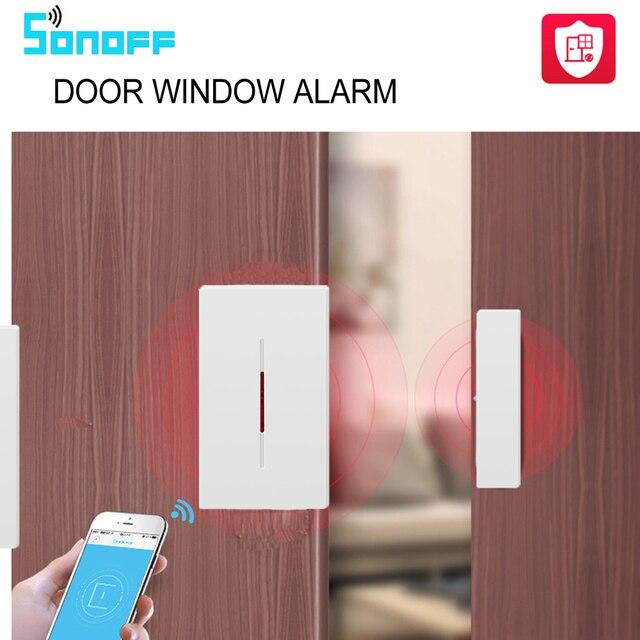 SONOFF DW1 433 MHz Smart Home inalámbrico alarma de puerta y ventana Sensor de intrusos para Kits de seguridad para el hogar inteligente