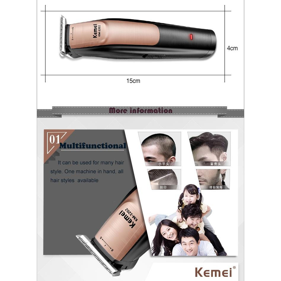 Kemei 0mm Bareheaded trimmer Electric Hair Clipper Rechargeable Modelling Hair Trimmer Razor Cordless beard shaver for barber