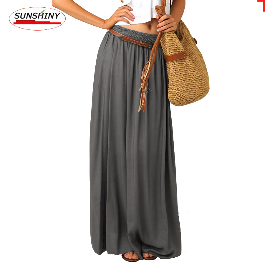 LOHER Store SUNSHINY Plus Size Maxi Gray Top Quality Slim Skirt Long Lining  Excellent Floor Length Plus Size Pleated Chiffon Skirt AS-19