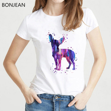 2019 Summer Fashion Watercolor Chihuahua animal Print T-Shirt women Funny Dog Design Tops tee shirt femme Casual Cool tshirt dog print tee
