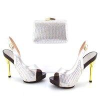 505-7-1 Zilver Mooie Ontwerp Europese Dames Schoenen En Tassen Sets Hoge Kwaliteit Italiaanse Schoenen En Tas Set Gratis Verzending