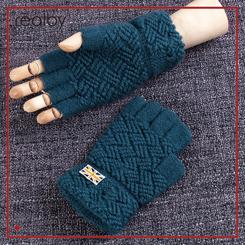 REALBY I LOVE United Kingdom Men's Winter Fingerless Gloves 5 Colors Wrist Luvas Hand Warmer Mittens Guantes Gloves sin dedos