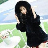 2018 Autumn Winter Women Faux Fur Coat Faux Fox Fur Collar Hooded Fur Coat Casual Solid Female Plus Size Coats