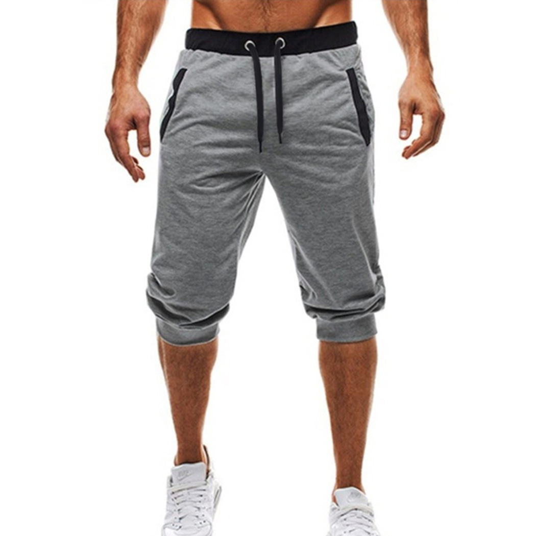 2018 Mens Fitness Bodybuilding Shorts Casual Patchwork Knee Length Joggers Fashion Men Cotton Trousers Short Homme Sweatpants