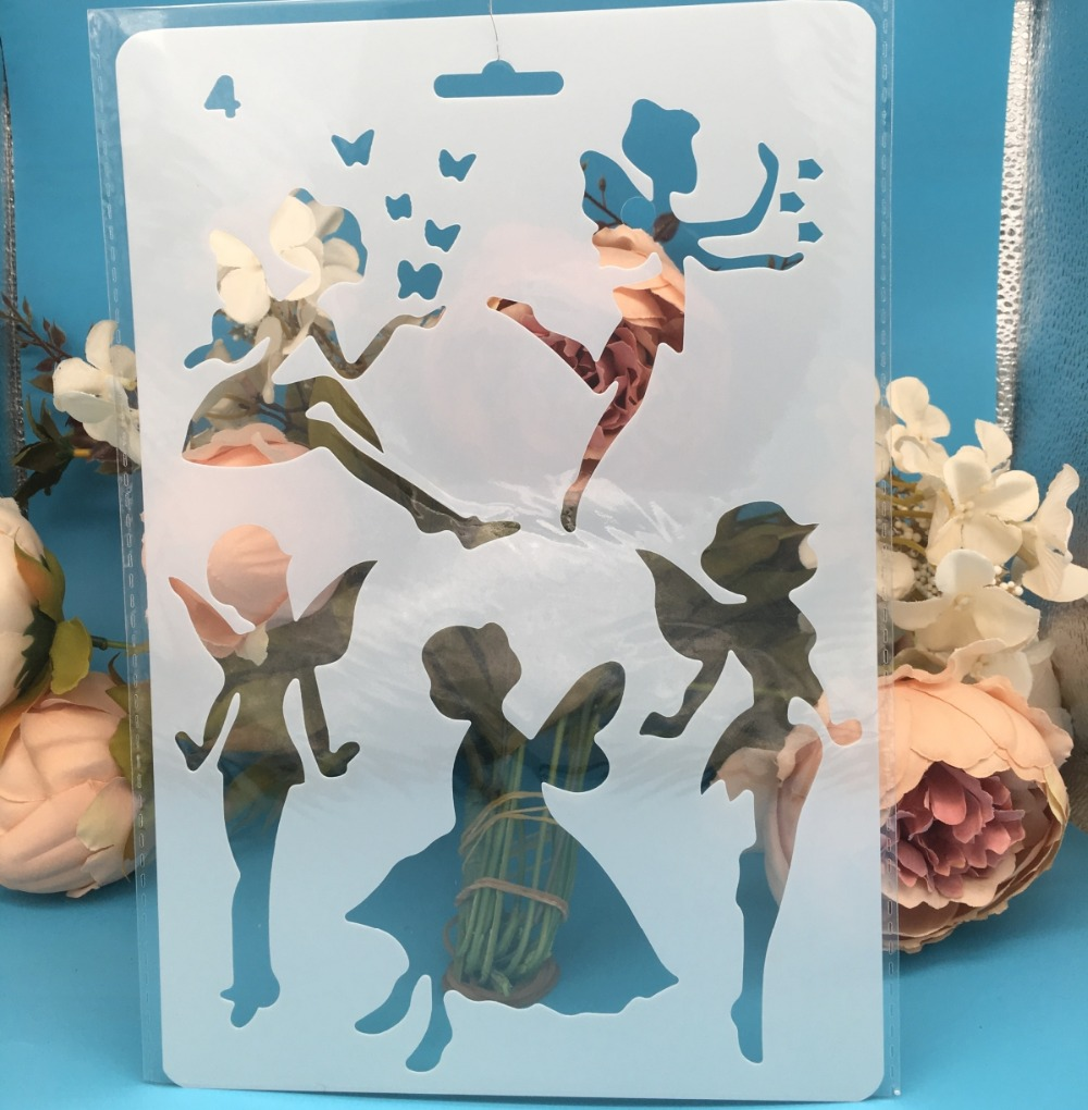 27.5X19cm Fairy Girl Angel DIY Craft Layering Stencils Painting Scrapbooking Stamping Embossing Album Paper Card Template