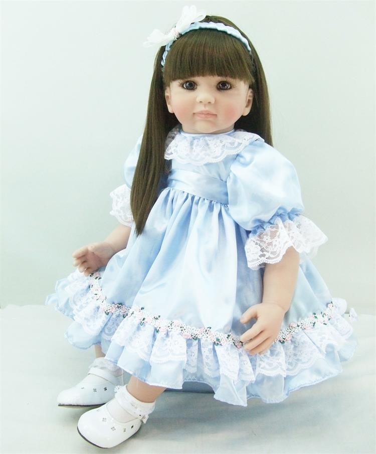Pursue 24/60 cm Adorable Blue Dress Silicone Vinyl Reborn Toddler Girl Doll Toys Princess Girl Doll for Children Girls Birthday lifelike american 18 inches girl doll prices toy for children vinyl princess doll toys girl newest design