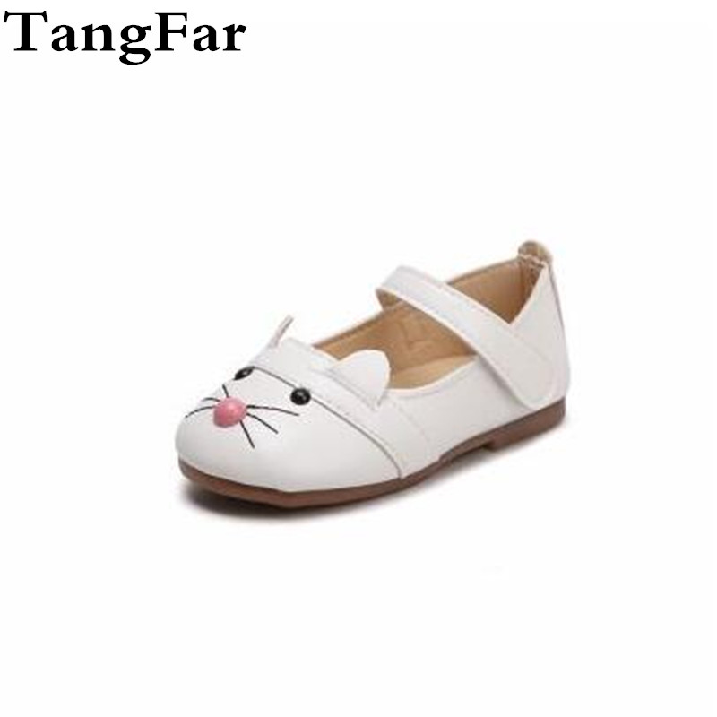 New Children s Casual Shoes Cartoon Cat Black White Pink Mary Jane Shoes  Soft Baby Girl Cute e55e895db381