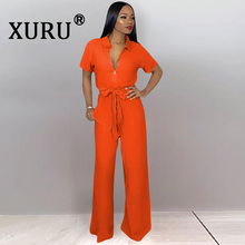 XURU summer new sexy fashion jumpsuit khaki yellow orange bow loose wide leg trousers
