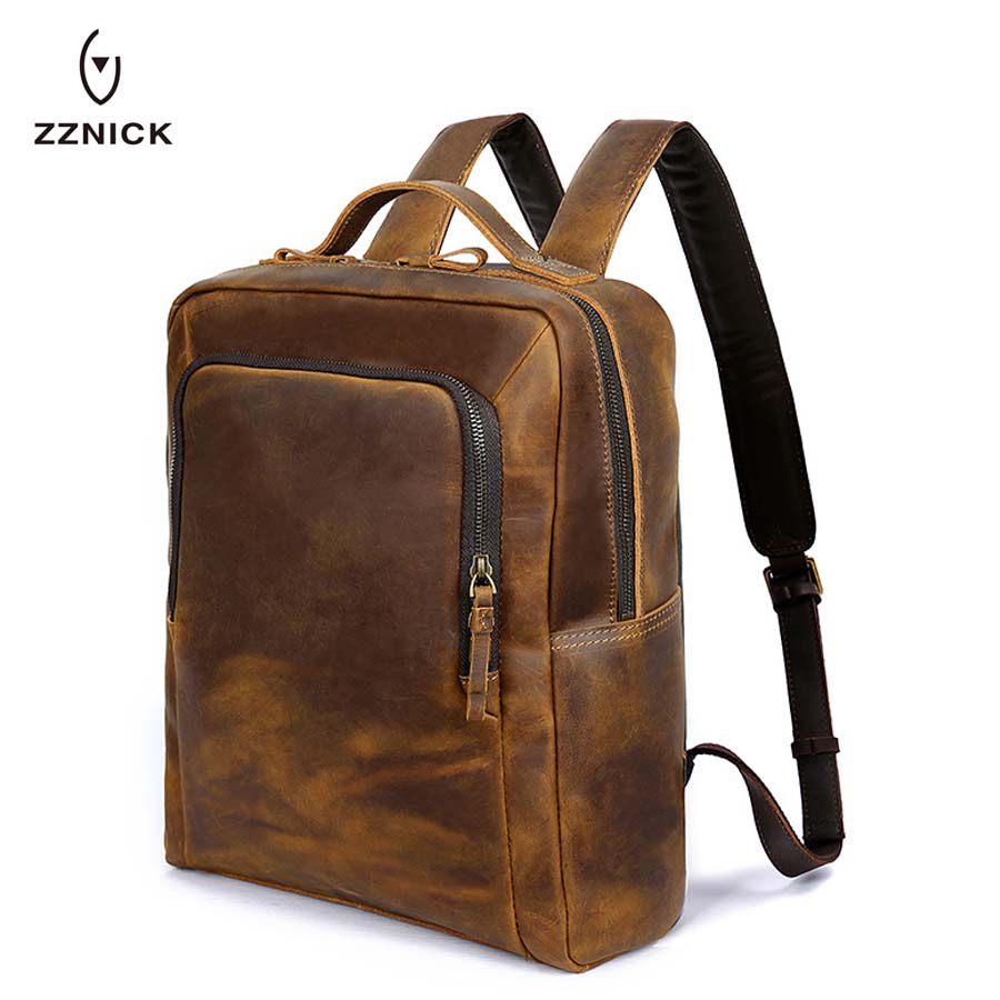 ZZNICK Men Backpacks Travel School Backpack Male Laptop Backpack For Men Mochila Crazy Horse Genuine Leather Men's Shoulder Bags zznick 2018 new genuine cowhide leather backpack men school bags bagpack men s travel bags male backpacks laptop bag pack 3906 1