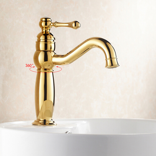 ФОТО High Quality Golden Basin Faucets Brass Bathroom Faucet Sink Faucet Basin Mixer Tap Deck Mounted