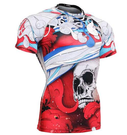 Compressione T Shirt Bodybuilding Pelle Tesa Corta Maglie degli uomini di estate Clothings MMA Crossfit PALESTRA Sollevamento Pesi Running Camicie - 4