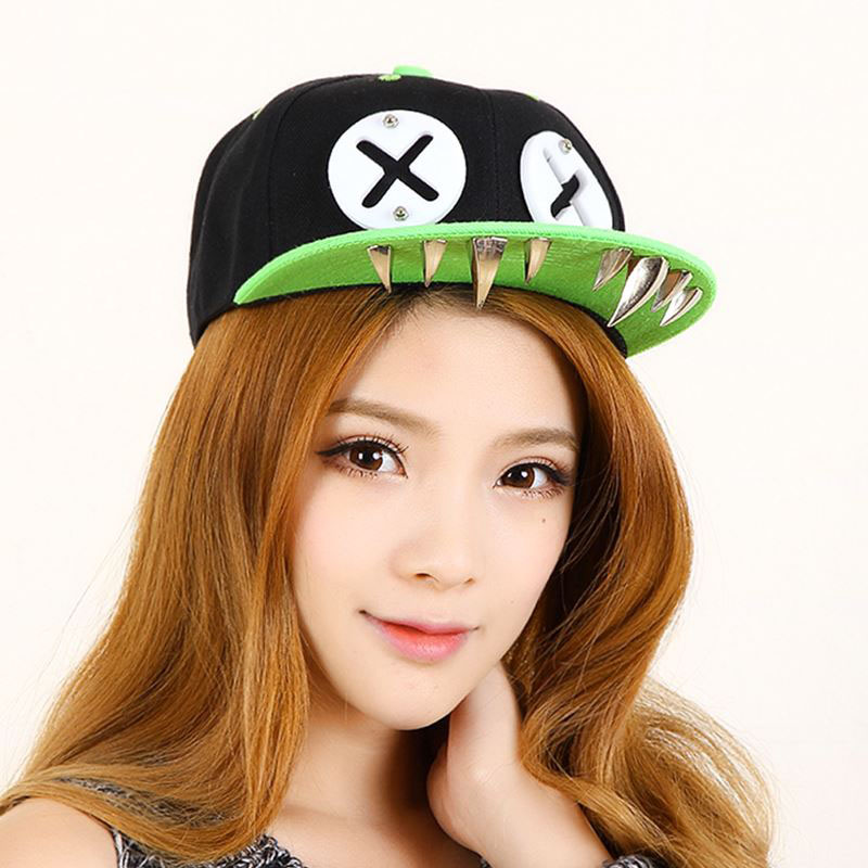 Punk Hip Hop Caps Devil Monster Dental Acrylic Bone Snapback Hats Rivet Baseball Cap Rockstar For Men And Women Bone Aba Reta цены онлайн