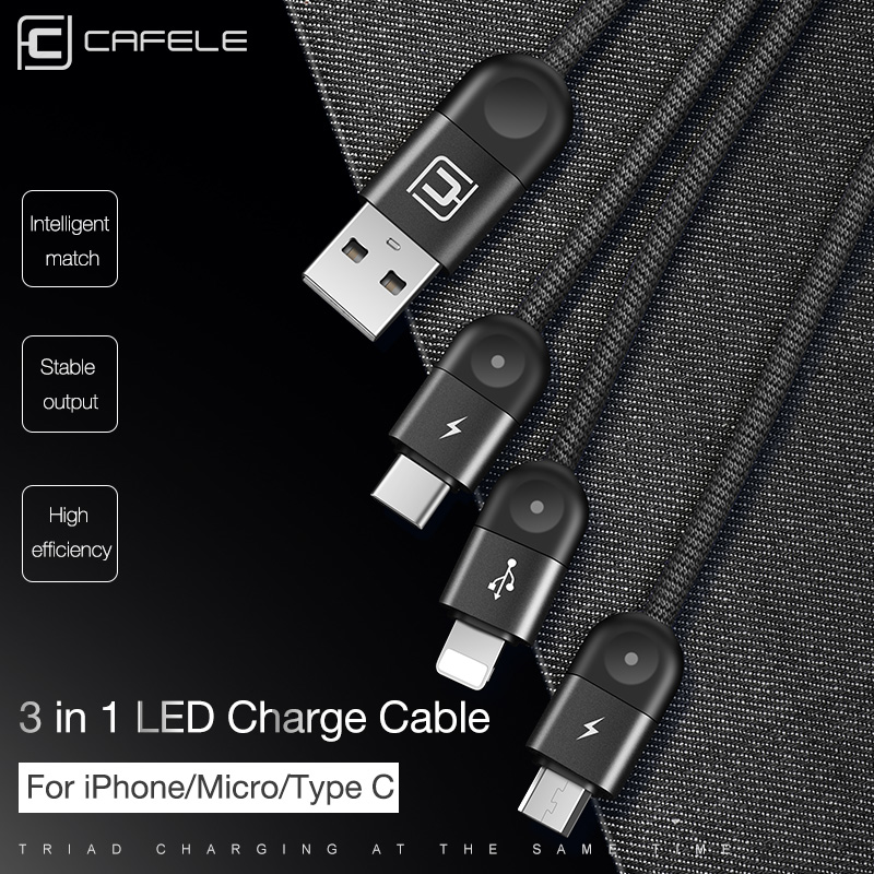 Cafele 3in1 Led Lighting Usb Cable For Iphone Micro Type C Nylon Weaving Huawei Xiaomi Fast Charging In Mobile Phone Cables From