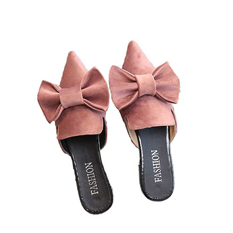 e39da35374c ... Women Mules Flats Bow Slippers Pointed Toe Mule Slip On Loafers Slide-on  Shoes Fashion ...